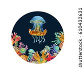 watercolor jellyfish in the... | Shutterstock . vector #610432631