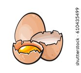 vector broken chicken egg.... | Shutterstock .eps vector #610435499