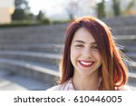 portrait of positive young and... | Shutterstock . vector #610446005