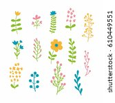 floral and herbal colorful... | Shutterstock .eps vector #610449551