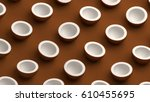 coconuts collection on a brown... | Shutterstock . vector #610455695