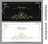 set of graceful floral cards... | Shutterstock .eps vector #610456061