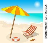 illustration seashore with... | Shutterstock . vector #610458965