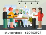 people at payday with banknotes ... | Shutterstock .eps vector #610463927