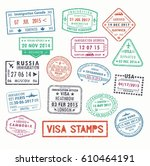 set of isolated visa passport... | Shutterstock .eps vector #610464191