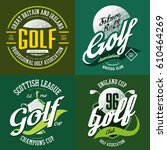 golf ball and trophy cup or... | Shutterstock .eps vector #610464269