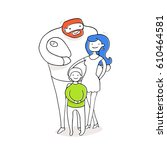 happy family. father  mother ... | Shutterstock .eps vector #610464581
