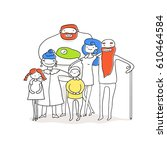 big happy family. father ... | Shutterstock .eps vector #610464584