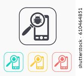 bug in smartphone flat icon.... | Shutterstock .eps vector #610464851