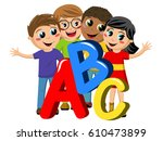 multicultural school kids or... | Shutterstock .eps vector #610473899