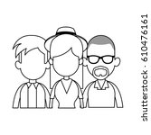 three people cartoon icon image  | Shutterstock .eps vector #610476161