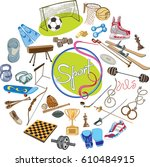 colorful drawing sports concept ...   Shutterstock .eps vector #610484915