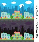 vector city with cartoon houses ... | Shutterstock .eps vector #610492571