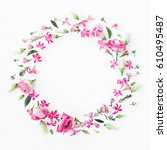 flowers composition. wreath... | Shutterstock . vector #610495487