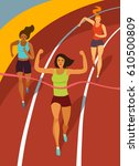 dynamic running girls crossing...   Shutterstock .eps vector #610500809