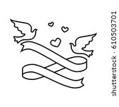 wedding birds romantic card | Shutterstock .eps vector #610503701
