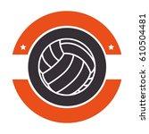 volleyball sport emblem icon   Shutterstock .eps vector #610504481