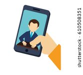 smartphone with contact icon | Shutterstock .eps vector #610508351