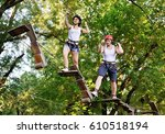 young people in safety... | Shutterstock . vector #610518194
