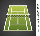 big tennis court isometric icon ... | Shutterstock .eps vector #610521719