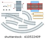Flat Railway Elements Set With...