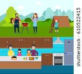 cooking people horizontal... | Shutterstock .eps vector #610522415