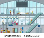 people in airport concept with...   Shutterstock .eps vector #610522619