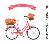 pink retro bicycle with bouquet ... | Shutterstock .eps vector #610522781