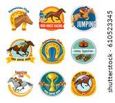 colorful equestrian sport...   Shutterstock .eps vector #610523345