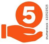 five cents payment hand glyph...   Shutterstock . vector #610523525