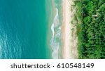 tropical beach with sea and... | Shutterstock . vector #610548149
