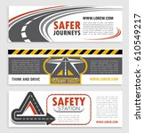 road and traffic safety banner... | Shutterstock .eps vector #610549217