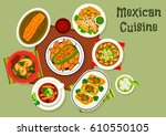 mexican cuisine beef tacos icon ... | Shutterstock .eps vector #610550105