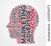 marketing word cloud head... | Shutterstock .eps vector #610553471