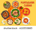 portuguese cuisine lunch icon... | Shutterstock .eps vector #610553885