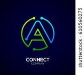 letter a logo  circle shape... | Shutterstock .eps vector #610560275