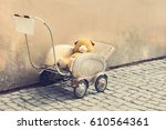 yellow teddy bear in an old toy ...   Shutterstock . vector #610564361