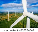 Wind Turbine From Aerial View ...
