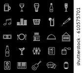 bar line icons on black... | Shutterstock .eps vector #610575701