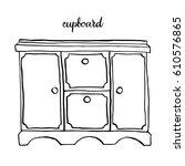 vintage cupboard  vintage... | Shutterstock .eps vector #610576865