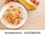 delicious spaghetti with... | Shutterstock . vector #610586564