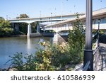 running and bike path leading... | Shutterstock . vector #610586939