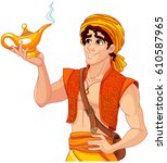 aladdin holds his magic lamp | Shutterstock .eps vector #610587965