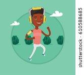 african man using smartphone to ... | Shutterstock .eps vector #610588685
