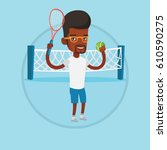 african american sportsman... | Shutterstock .eps vector #610590275