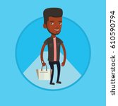 man posing on catwalk during... | Shutterstock .eps vector #610590794