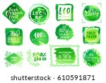 vector set of bio organic eco... | Shutterstock .eps vector #610591871