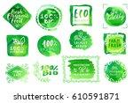 vector set of bio organic eco... | Shutterstock .eps vector #610591871