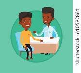 african american doctor... | Shutterstock .eps vector #610592861