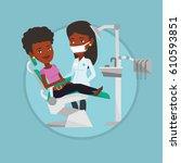 woman sitting in dental chair... | Shutterstock .eps vector #610593851